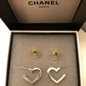 Chanel silver heart earrings